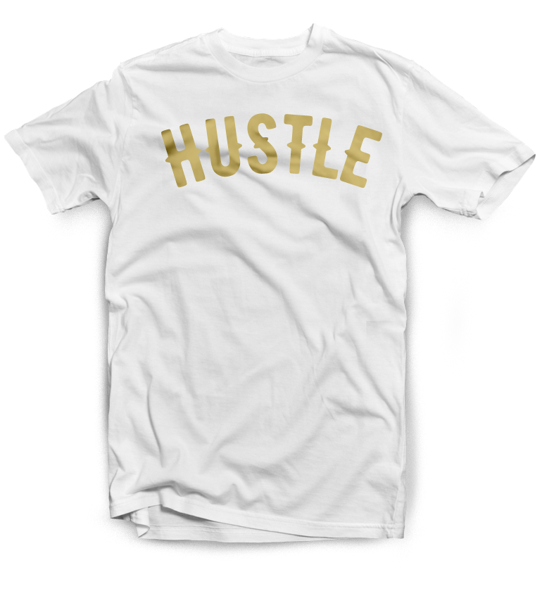 Hustle T-Shirt in White and Gold