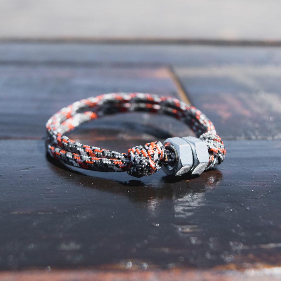 Orange and Grey Cord Bracelet
